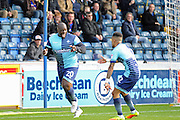 Adebayo Akinfenwa of Wycombe Wanderers (20) celebrates after scoring a goal 1-0 during the EFL Sky Bet League 2 match between Wycombe Wanderers and Carlisle United at Adams Park, High Wycombe, England on 18 February 2017. Photo by Andy Handley.