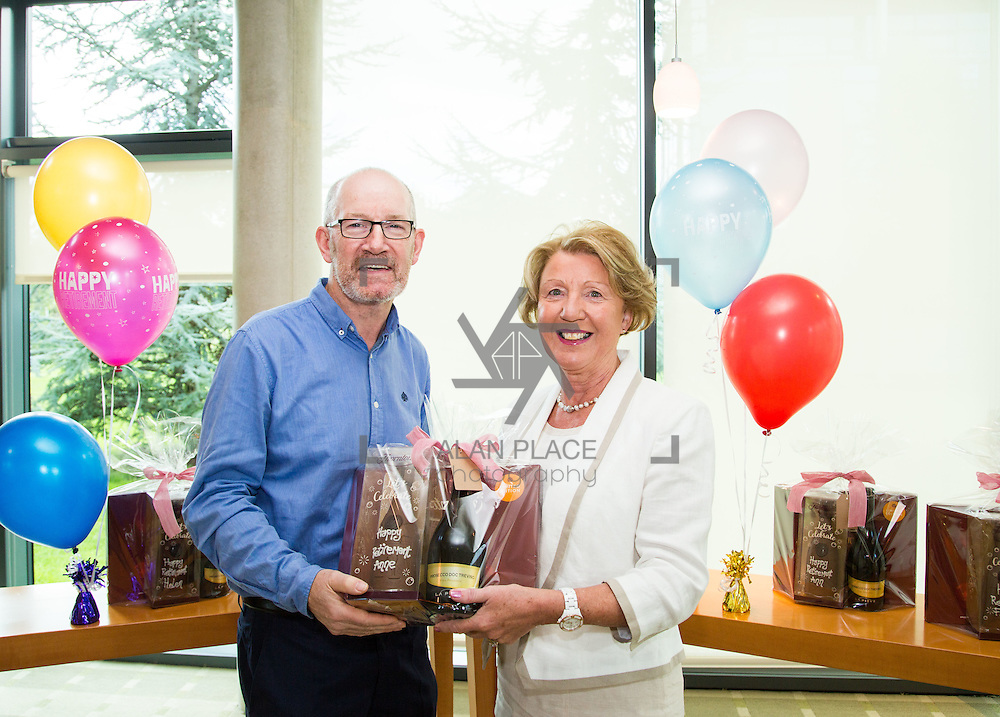 30.09.2016       <br /> University of Limerick ITD Retirement Gathering, Millstream Common room. <br /> Declan Maguire makes a presentation to retiree, Anne Foley. Picture: Alan Place