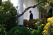President Barack Obama walks from the Oval Office to Marine One to board and travel to a campaign event on September 20.2012.  Photo by Dennis Brack...