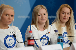 February 8, 2018 - Pyeonchang, Republic of Korea - MARI LAUKKANEN, VENLA LEHTONEN and LAURA TOIVANEN of the Finnish biathlon team at a press conference prior to the start of the 2018 Olympic Games (Credit Image: © Christopher Levy via ZUMA Wire)