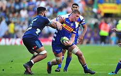 Cape Town-180317 Kobus Wiese   of the DHL Stomers tackled by Akira Ioane  of Blues in the Super Rugby tournament  at Newlands rugby stadium.Photograph:Phando Jikelo/African News Agency/ANA