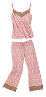 pink and brown lace pajamas