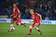 Mats Daehli of Cardiff city in action. Skybet football league championship match, Cardiff city v Middlesbrough at the Cardiff city stadium in Cardiff, South Wales on Tuesday 16th Sept 2014<br /> pic by Andrew Orchard, Andrew Orchard sports photography.