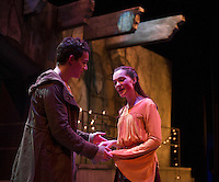 Romeo (Jack Harding) and Juliet (Emily Casko) during Wednesday evening dress rehearsal for Romeo and Juliet at the Winnipesaukee Playhouse.  (Karen Bobotas/for the Laconia Daily Sun)