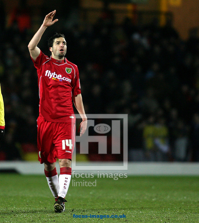London - Tuesday, March 4th, 2008: Juan Velasco of Norwich City during the Coca Cola Champrionship match at Vicarage Road, London. (Pic by Chris Ratcliffe/Focus Images)
