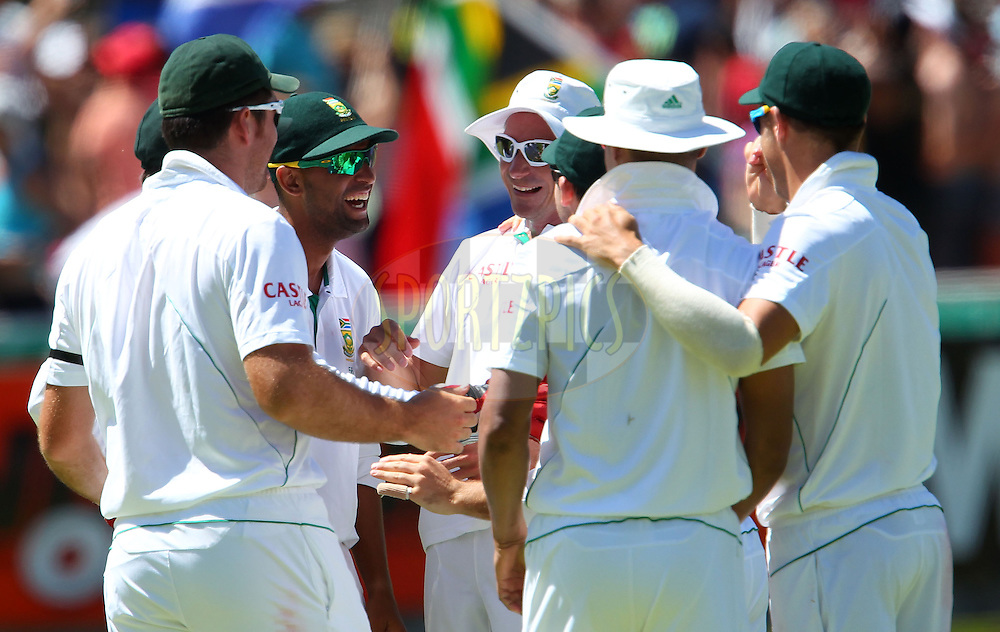 Dale Steyn celebrates the final wicket and the win for South Africa during the 3rd day of the 1st Sunfoil Test match between South Africa and New Zealand held at Newlands Stadium in Cape Town, South Africa on the 4th January 2013..Photo by Ron Gaunt/SPORTZPICS .