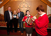 Repro Free: 18/10/2012 Brian Allen, CEO, ChildVision, Catherine McGorman, ChildVision Music Teacher and Michael Flatley are pictured with Jasmine Boyle (12) from Finglas and Paul Geoghegan (12) from Tallaght, both pupils of ChildVision, the national education centre for blind children, as Michael Flatley launched a unique album of traditional Irish music featuring music made famous by blind musicians and now played by a new generation of sightless players at Woodlock Hall, All Hallows College, Drumcondra. The brainchild of Catherine McGorman the venture was supported by the Arts Council and all funds raised will go to supporting music teaching for blind and partially sighted children at ChildVision, the national education centre for blind children. Pic Andres Poveda