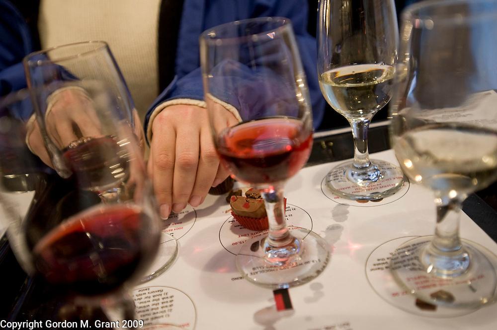 Mattituck, NY - 1/31/09 - Wine and chocolate pairing at Lieb Family Cellars in Mattituck, NY January 31, 2009.   (Photo by Gordon M. Grant)