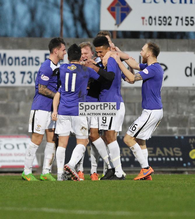 Jamie Insall (East Fife, purple) scores the first goal<br /> <br /> East Fife v Montrose, SPFL League 2, 19th December 2015<br /> <br /> (c) Alex Todd | SportPix.org.uk