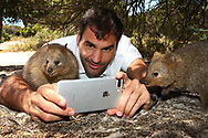 PERTH, AUSTRALIA - DECEMBER 28:  Roger Federer of Switzerland takes a selfie with a Quokka at Rottnest Island ahead of the 2018 Hopman Cup on December 28, 2017 in Perth, Australia.  (Photo by Paul Kane/Getty Images)