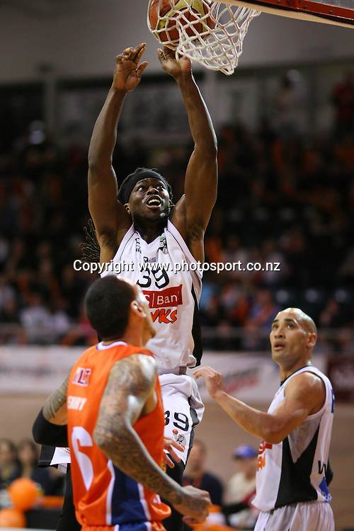 Brian Greene of the Hawks with a layup in the NBL national basketball league, Zero Fees Southland Sharks v HBS Bank Hawks, Stadium Southland Velodrome, Invercargill, New Zealand, Saturday, May 25, 2013. Photo:  Dianne Manson / photosport.co.nz
