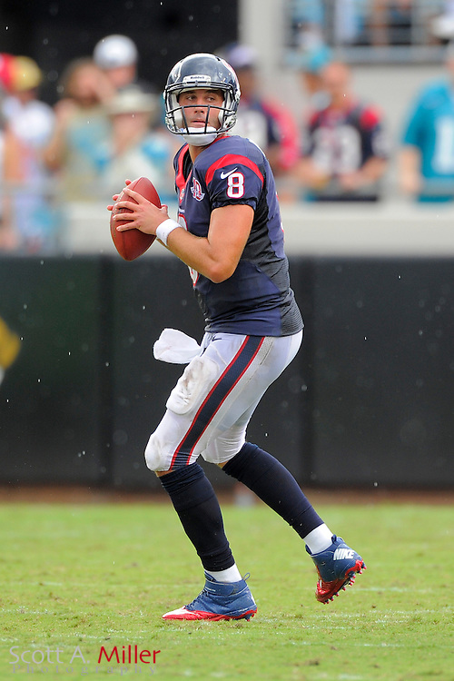 Houston Texans quarterback Matt Schaub (8) looks to throw during the NFL game between the Texans and the Jacksonville Jaguars, at EverBank Field on September 16, 2012 in Jacksonville, Florida. The Texans won 27-7...©2012 Scott A. Miller.
