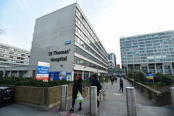 © Licensed to London News Pictures. 07/02/2020. LONDON, UK.  General view of St Thomas's Hospital in Westminster, opposite the Houses of Parliament.  It has been reported that a patient, UK's the third confirmed case of coronavirus, has been brought to the specialist unit in the hospital for treatment.  Photo credit: Stephen Chung/LNP