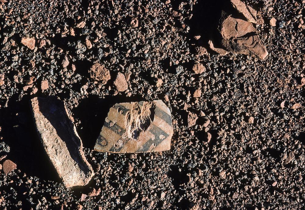 Pottery shards, detail; Wupatki National Monument, Arizona