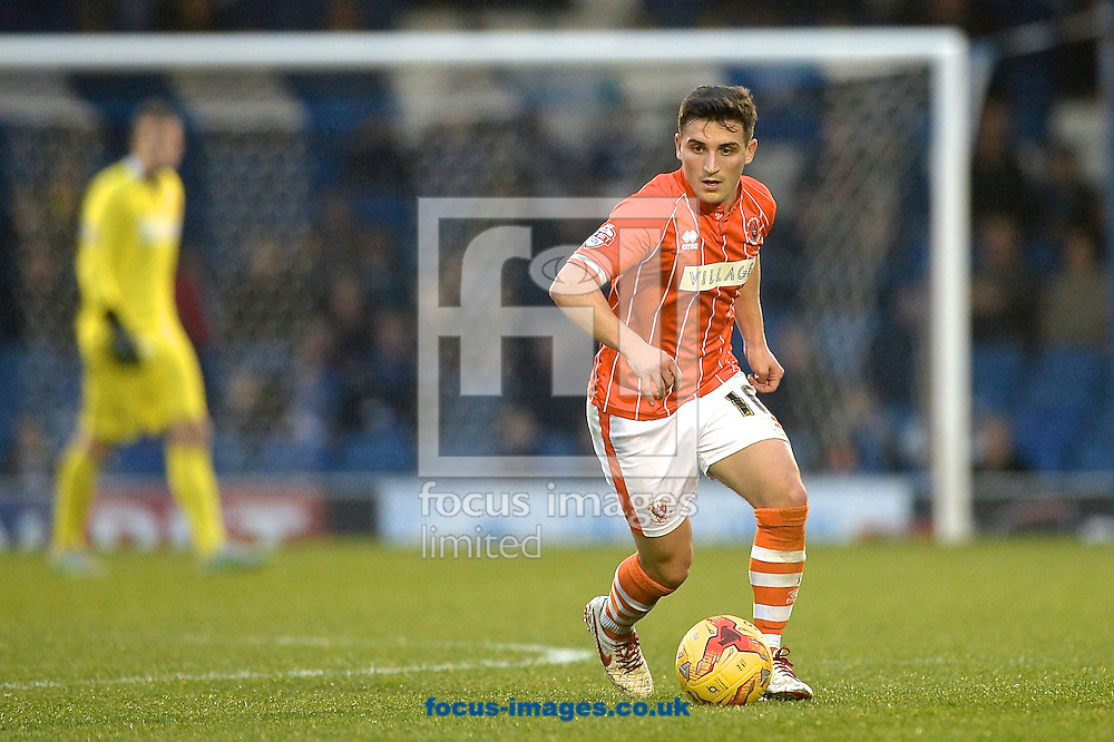 Jack Redshaw of Blackpool during the Sky Bet League 1 match at Gigg Lane, Bury<br /> Picture by Ian Wadkins/Focus Images Ltd +44 7877 568959<br /> 31/10/2015