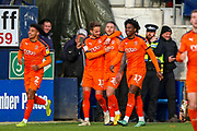 Goal Luton Town midfielder George Moncur (20) scores a goal and celebrates 3-0 during the EFL Sky Bet League 1 match between Luton Town and Oxford United at Kenilworth Road, Luton, England on 4 May 2019.