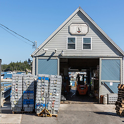 A storage facility at the Vinalhaven Fishermen's Co-op in Vinalhaven, Maine.