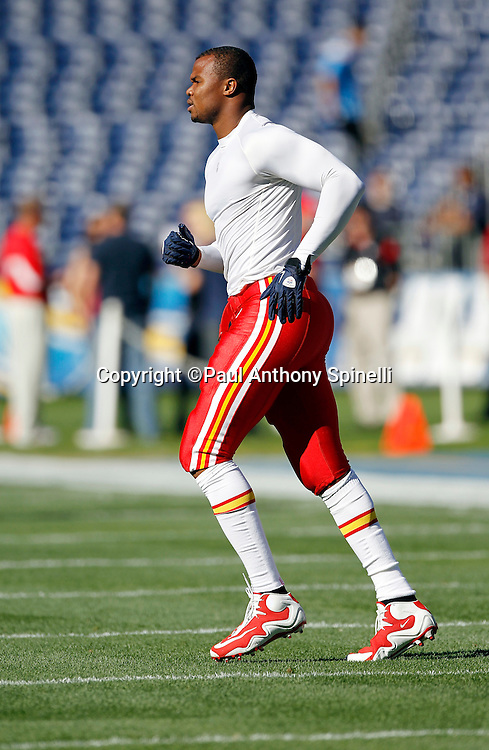 Kansas City Chiefs tight end Leonard Pope (45) warms up before the NFL week 14 football game against the San Diego Chargers on Sunday, December 12, 2010 in San Diego, California. The Chargers won the game 31-0. (©Paul Anthony Spinelli)