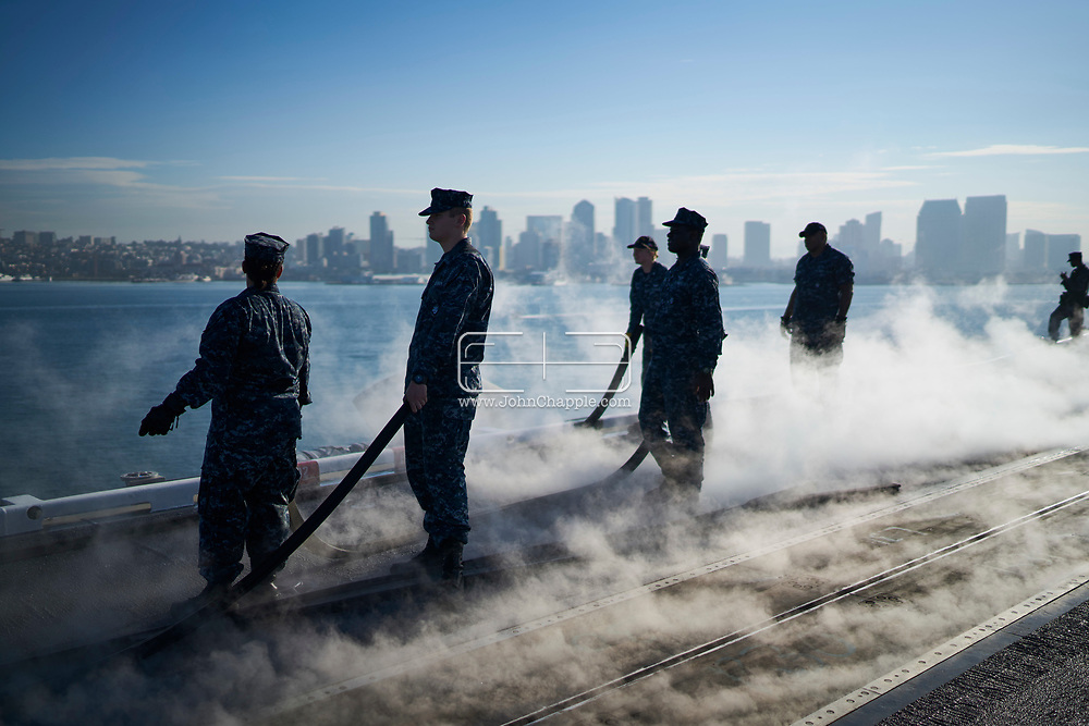October 18, 2017. San Diego, California. Daily life on board the US Navy's Nimitz-class aircraft carrier, the USS Carl Vinson. The 1092 ft long, 95,000 ton vessel was training in the Pacific Ocean. <br /> Photo copyright John Chapple / www.JohnChapple.com