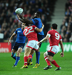 Harry Jones of Canada tackles Mathieu Bastareaud of France  - Mandatory byline: Joe Meredith/JMP - 07966386802 - 01/10/2015 - Rugby Union, World Cup - Stadium:MK -Milton Keynes,England - France v Canada - Rugby World Cup 2015