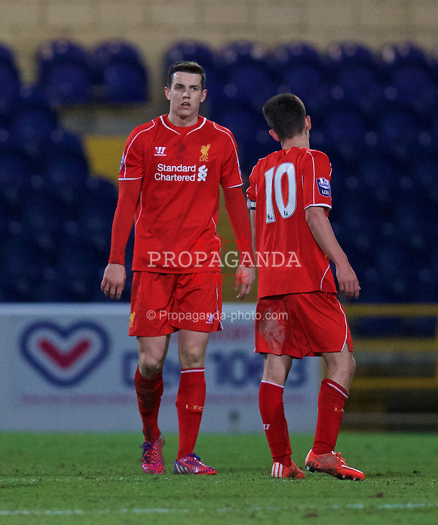 CHESTER, WALES - Monday, March 9, 2015: Liverpool's Jordan Williams looks dejected as Everton score the opening goal during the Under 21 FA Premier League match at Deva Stadium. (Pic by David Rawcliffe/Propaganda)