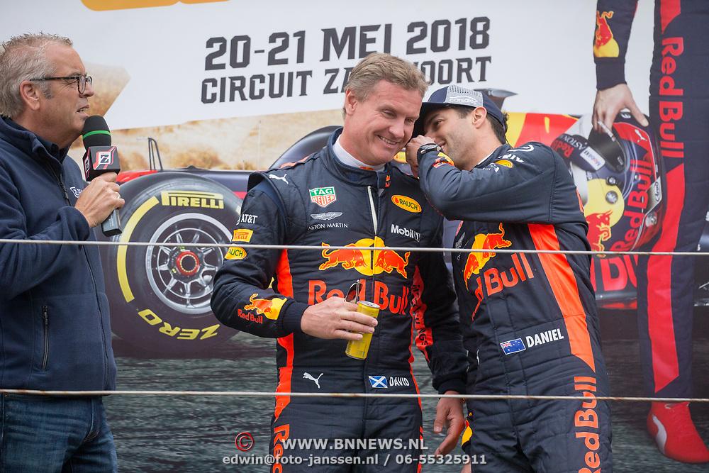 NLD/Zandvoort/20180520 - Jumbo Race dagen 2018, Daniel Ricciardo en Olav Mol en David Coulthard