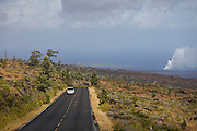 Big Island. Hawai'i Volcanoes National Park. The active lava floe from Kilauea's Pu'u O'o Crater meeting the sea.
