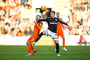 Dundee midfielder Scott Allan (#10) controls the long pass to win the ball ahead of Dundee United forward Paul McMullan (#7) during the Betfred Scottish Cup match between Dundee and Dundee United at Dens Park, Dundee, Scotland on 9 August 2017. Photo by Craig Doyle.