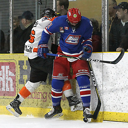 COCHRANE, ON - MAY 4: Harrison Isreals #21 of the Oakville Blades makes the hit on Christian James-McDonald #26 of the Hearst Lumberjacks  during the first period on May 4, 2019 at Tim Horton Events Centre in Cochrane, Ontario, Canada.<br /> (Photo by Tim Bates / OJHL Images)