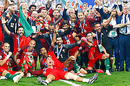 Portuguese team celebrating the winning of Euro Football Championship after Portugal beat France on extra-time by 1-0, in Saint Denis stadium in Paris.