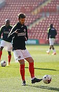 Charlton Athletic Marco Motta (47) during the warm up before the Sky Bet Championship match between Charlton Athletic and Middlesbrough at The Valley, London, England on 13 March 2016. Photo by Andy Walter.