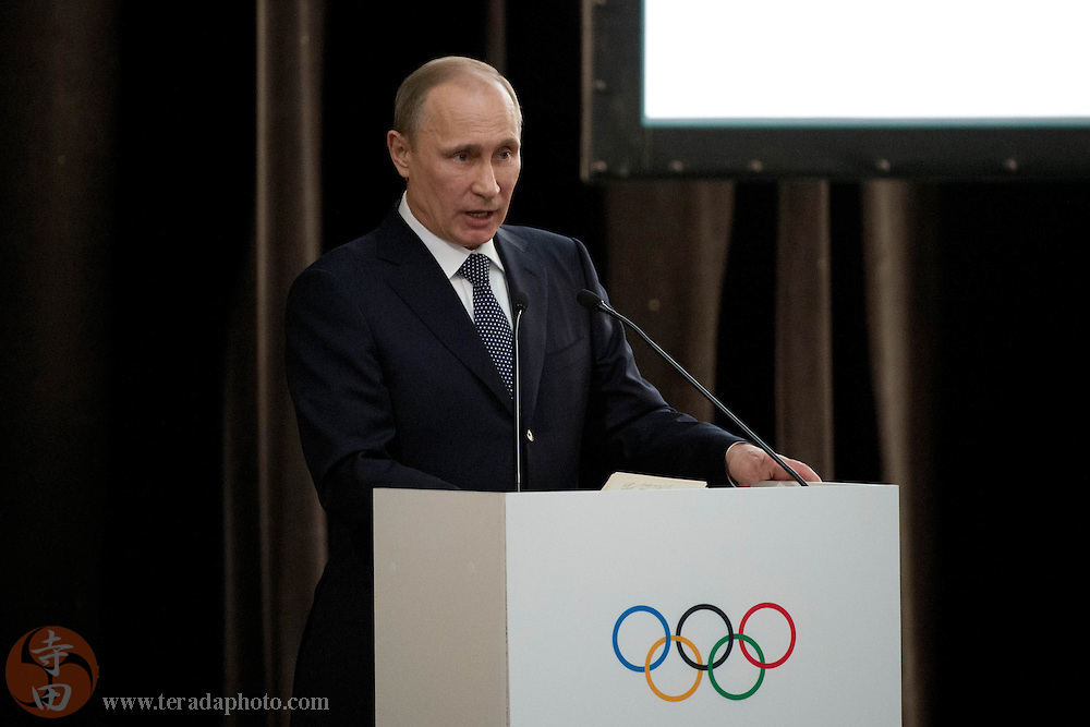 Feb 4, 2014; Sochi, RUSSIA; Russian Federation president Vladimir Putin speaks during the Opening of the IOC Session prior to the 2014 Sochi Winter Olympic Games at Zimny Theatre.