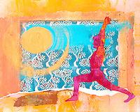 Sun Salute. Warrior One. Mixed Medium Collage.