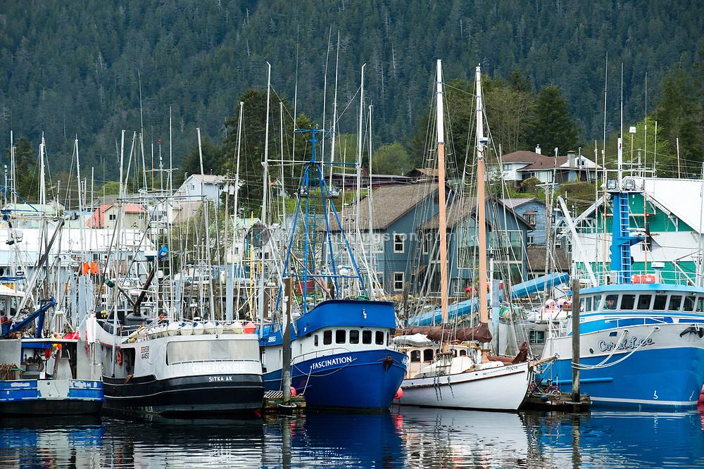 Boats in the harbor in Sitka, Alaska.