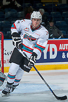 KELOWNA, CANADA - JANUARY 2: Lucas Johansen #7 of Kelowna Rockets warms up against the Victoria Royals on January 2, 2016 at Prospera Place in Kelowna, British Columbia, Canada.  (Photo by Marissa Baecker/Shoot the Breeze)  *** Local Caption *** Lucas Johansen;