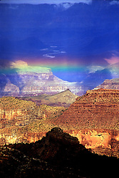 South Rim views, Grand Canyon National Park: Rainbow at the end of a storm, as seen from Mather Point.
