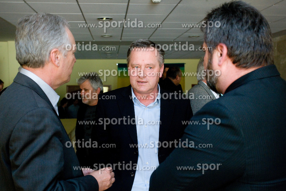 Brane Florjanic, Tugomir Frajman and Stane Orazem at General Assembly of Slovenian Football Federation, on April 7, 2010,  at Brdo pri Kranju, Slovenia.  (Photo by Vid Ponikvar / Sportida)