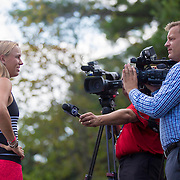 August 16, 2014, New Haven, CT:<br /> Caroline Wozniacki is interviewed by media during WTA All-Access Hour on day three of the 2014 Connecticut Open at the Yale University Tennis Center in New Haven, Connecticut Sunday, August 17, 2014.<br /> (Photo by Billie Weiss/Connecticut Open)