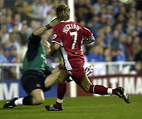 Copyright Sportsbeat. 0208 3926656<br />Picture: Henry Browne<br />Date: 18/04/2003<br />Reading v Nottingham Forest Nationwide First Division<br />Darren Huckerby is denied by Marcus Hahnemann of Reading in the first half