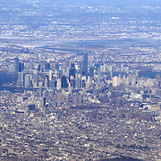 Aerial footage captured from an airplane window seat on a flight from New York CIty to Syracuse, New York (AP Photo/Alex Menendez)