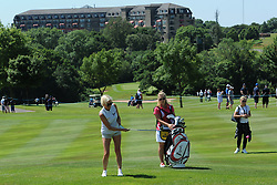 © Licensed to London News Pictures. 01/07/2017. London, UK, The Celtic Manor Resort seen in the distance behind Actress and tv personality Denise Van Outen during The 2017 Celebrity Cup golf tournament at the Celtic Manor Resort, Newport, South Wales. Photo credit: Jeff Thomas/LNP