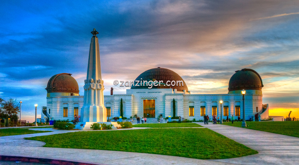 Griffith Observatory, L.A. Astronomers Monument, North Door Entrance, los Angeles CA,  Night, Dusk, lit