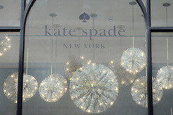 © Licensed to London News Pictures. 05/06/2018. LONDON, UK.  Signage on the exterior of the Kate Spade New York store on Regent Street, one of four stores in central London.  It has been reported that the designer Kate Spade (real name Katherine Noel Brosnahan) has been found dead in her New York apartment in an apparent suicide.  Photo credit: Stephen Chung/LNP