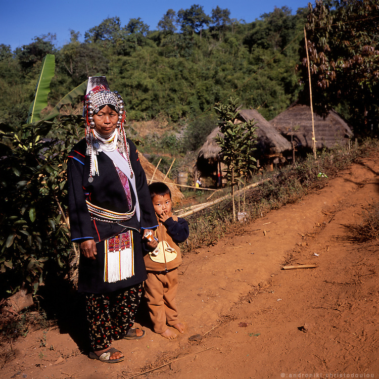 Grandmothere and grandson at the Akha village Huei Naam Kun that is located in the mountains near Chiang Rai.
