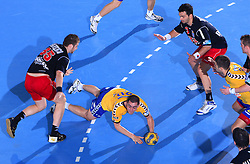 Aleksander Stojanovic (20) at handball match of 4th Round of EHF Men Championsleague between RK Cimos Koper (SLO) and Steaua MFA Bucuresti (ROM), in Arena Bonifika, Koper, Slovenia, on November 8, 2008. Steaua  won the match 30:29.
