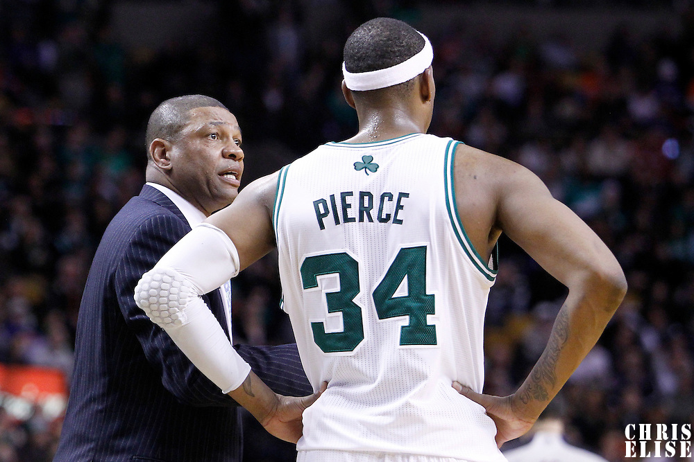 04 March 2012: Boston Celtics head coach Doc Rivers talks to Boston Celtics small forward Paul Pierce (34) during the Boston Celtics 115-111 (OT) victory over the New York Knicks at the TD Garden, Boston, Massachusetts, USA.