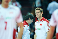 Poland's trainer coach Antiga Stephane looks to the ball while volleyball final match between Brazil and Poland during the 2014 FIVB Volleyball World Championships at Spodek Hall in Katowice on September 21, 2014.<br /> <br /> Poland, Katowice, September 21, 2014<br /> <br /> For editorial use only. Any commercial or promotional use requires permission.<br /> <br /> Mandatory credit:<br /> Photo by © Adam Nurkiewicz / Mediasport