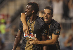 July 26, 2017 - Chester, PA, United States of America - Philadelphia Union Attacker C.J. SAPONG (17) celebrates his goal with teammate Philadelphia Union Midfielder ILSON PEREIRA DIAS (25) in the second half of a Major League Soccer match between the Philadelphia Union and Columbus Crew SC Wednesday, July. 26, 2017, at Talen Energy Stadium in Chester, PA. (Credit Image: © Saquan Stimpson via ZUMA Wire)