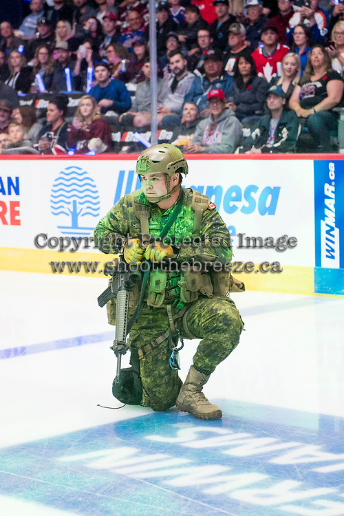 REGINA, SK - MAY 18: Army cadet repels to ice from the ceiling at the start of the game between the Regina Pats and the Hamilton Bulldogs at the Brandt Centre on May 18, 2018 in Regina, Canada. (Photo by Marissa Baecker/CHL)
