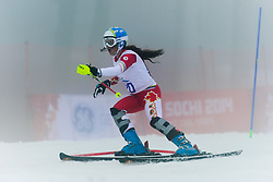LATIMER Erin competing in the Alpine Skiing Super Combined Slalom at the 2014 Sochi Winter Paralympic Games, Russia